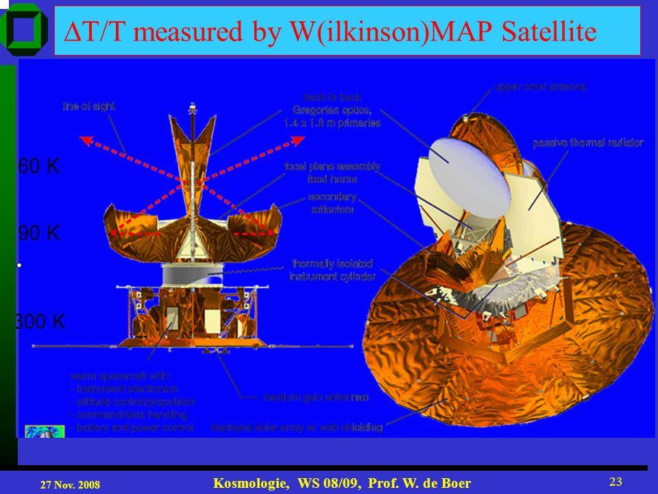 27 Nov. 2008 Kosmologie, WS 08/09, Prof. W. de Boer 23 measured by W(ilkinson)MAP Satellite 90 K 60 K 300 K