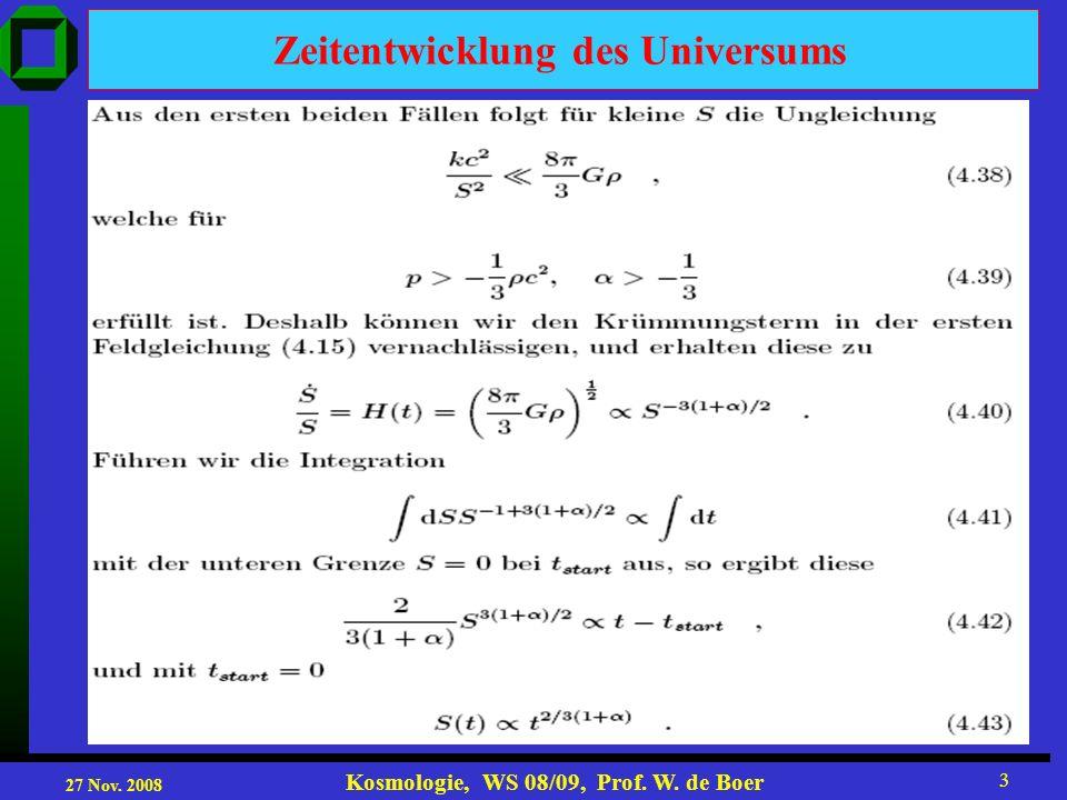 27 Nov. 2008 Kosmologie, WS 08/09, Prof. W. de Boer 3 Zeitentwicklung des Universums