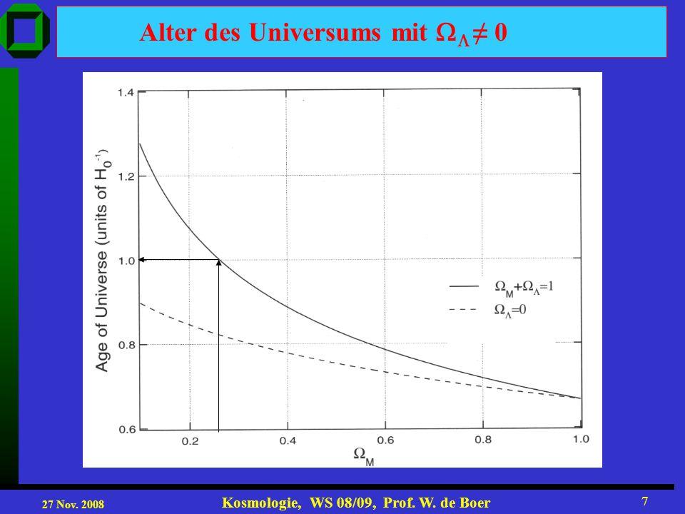 27 Nov. 2008 Kosmologie, WS 08/09, Prof. W. de Boer 7 Alter des Universums mit 0