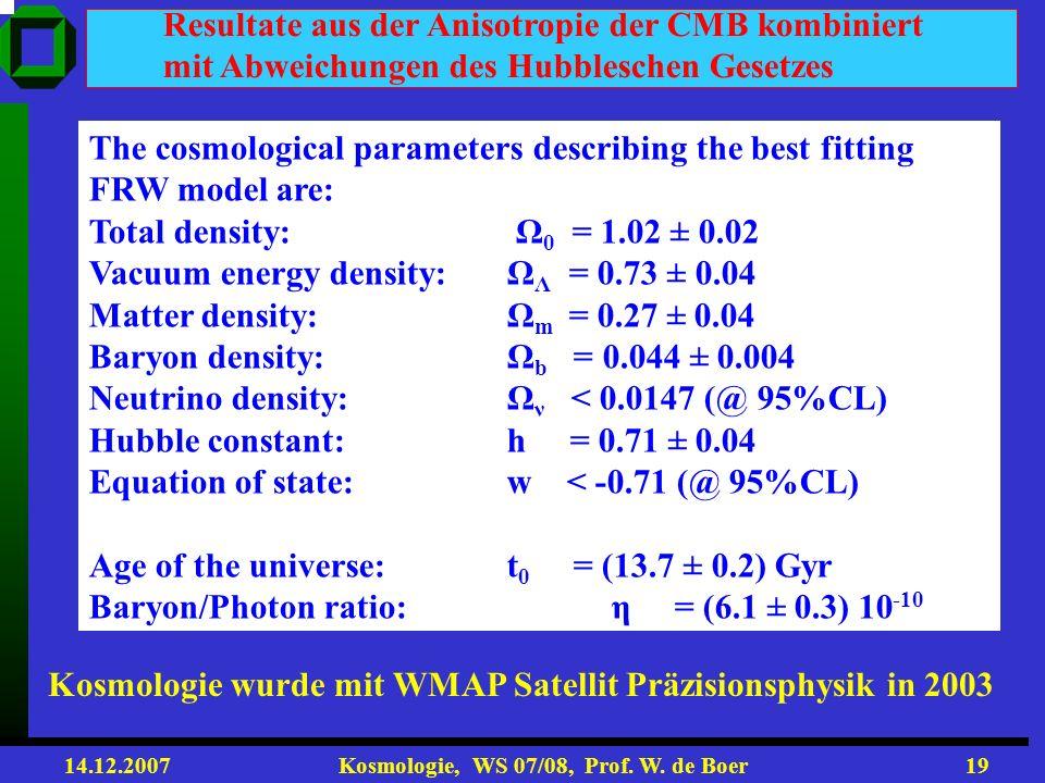 14.12.2007 Kosmologie, WS 07/08, Prof. W. de Boer18 Vergleich mit den SN 1a Daten SN1a empfindlich für Beschleunigung, d.h. - m CMB empfindlich für to