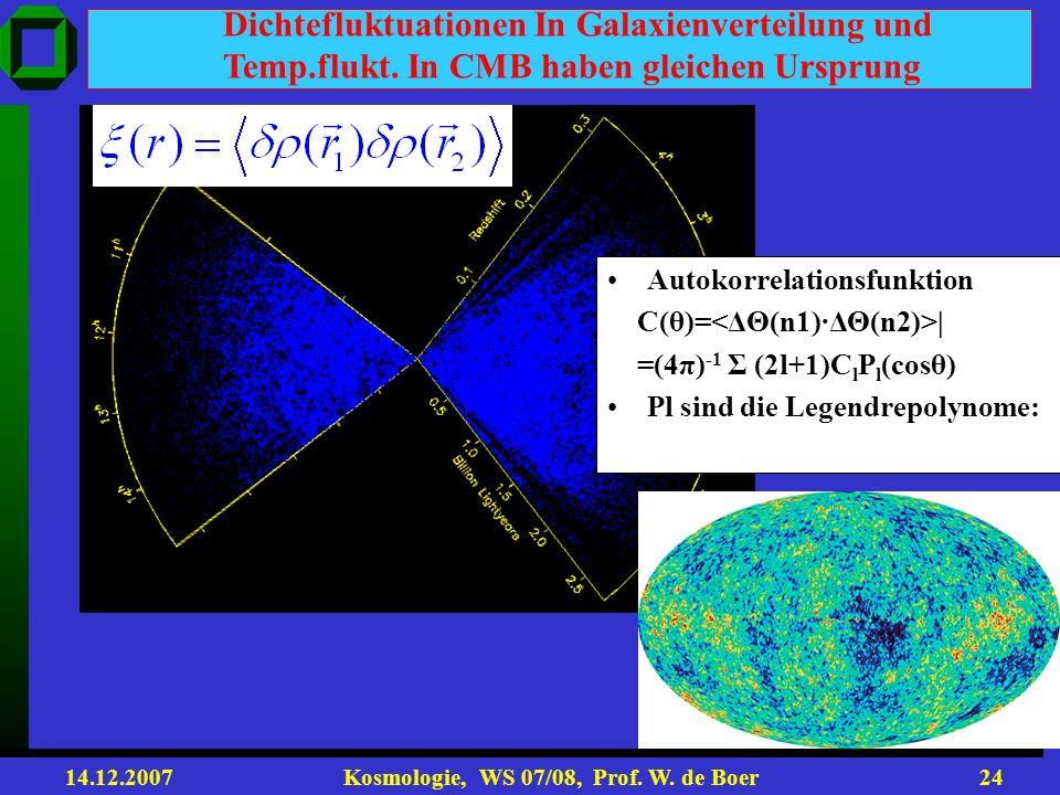 14.12.2007 Kosmologie, WS 07/08, Prof. W. de Boer23 SLOAN DIGITAL SKY SURVEY (SDSS) Few Gpc. Present distribution of matter
