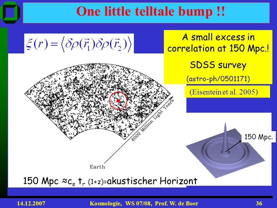 14.12.2007 Kosmologie, WS 07/08, Prof. W. de Boer35 Baryonic Acoustic Oscillations (BAO) Galaxien entstehen in Potentialtöpfe und Skale von 148 Mpc so