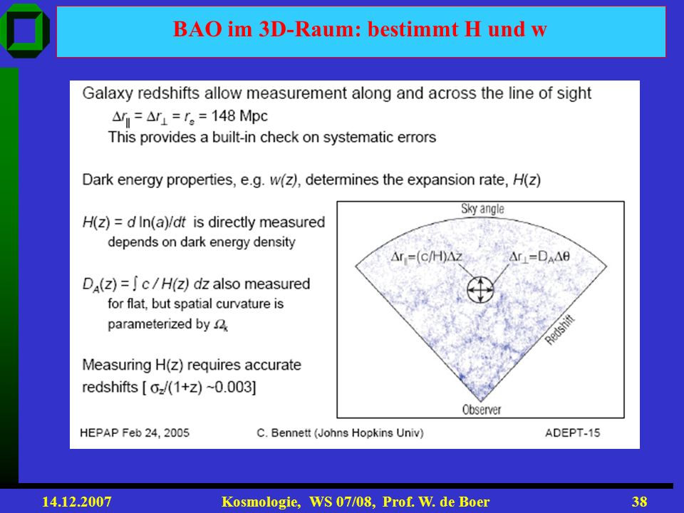 14.12.2007 Kosmologie, WS 07/08, Prof. W. de Boer37 2-point correlation of density contrast The same CMB oscillations at low redshifts !!! SDSS survey