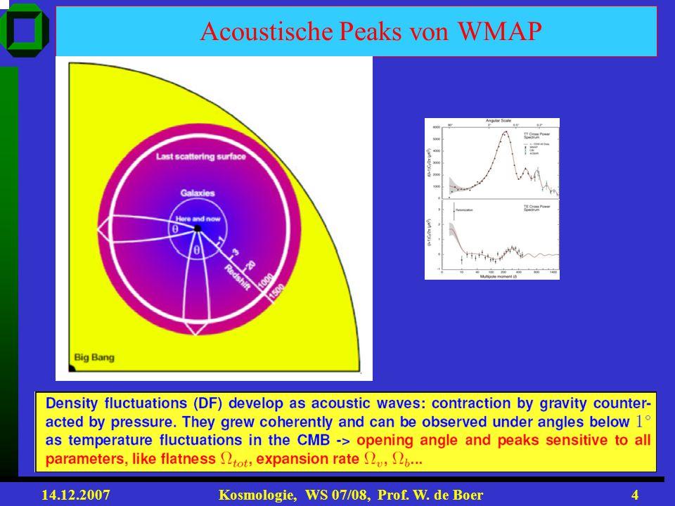 14.12.2007 Kosmologie, WS 07/08, Prof. W. de Boer3 Temperaturverteilung ist Funktion auf Sphäre: ΔT(θ,φ) bzw. ΔT(n) = ΔΘ(n) T T n=(sinθcosφ,sinθsinφ,c