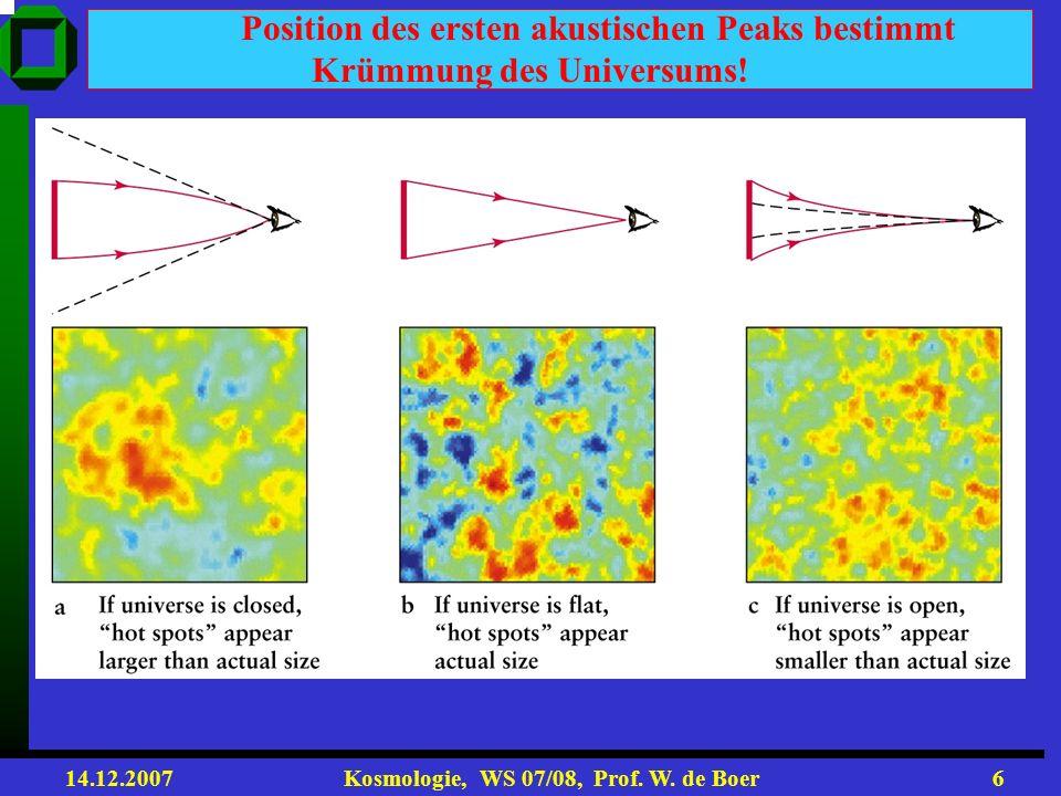 14.12.2007 Kosmologie, WS 07/08, Prof. W. de Boer5 Photonen, Elektronen, Baryonen wegen der starken Kopplung wie eine Flüssigkeit behandelt ρ, v, p Du