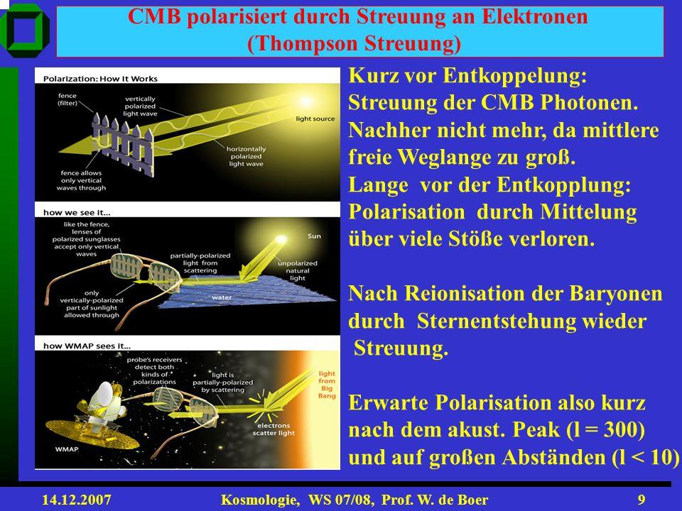 14.12.2007 Kosmologie, WS 07/08, Prof. W. de Boer8 = x/S(t) = x(1+z) Raum-Zeit x t = t / S(t) = t (1+z) Conformal Space-Time (winkelerhaltende Raum-Ze