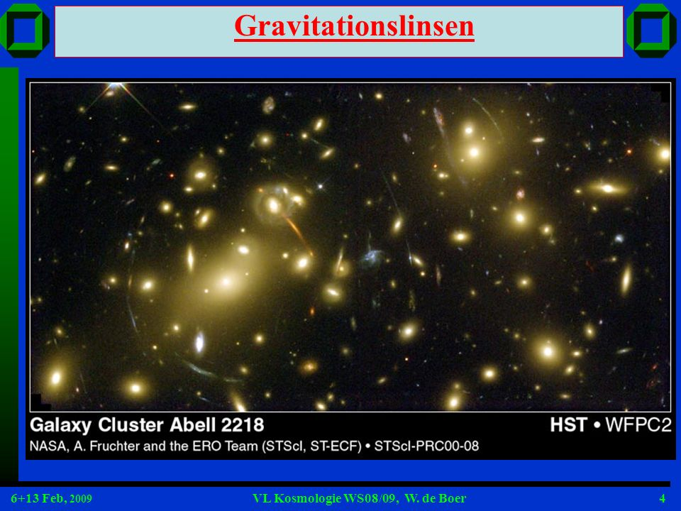 6+13 Feb, 2009 VL Kosmologie WS08/09, W. de Boer4 Gravitationslinsen