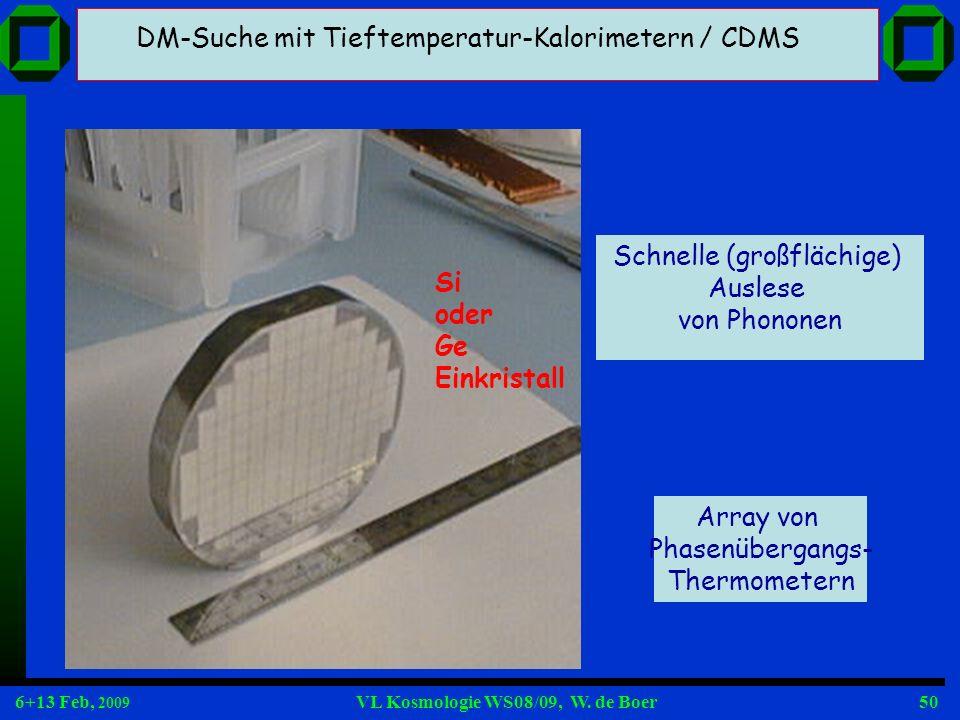 6+13 Feb, 2009 VL Kosmologie WS08/09, W. de Boer50 Array von Phasenübergangs- Thermometern Schnelle (großflächige) Auslese von Phononen DM-Suche mit T