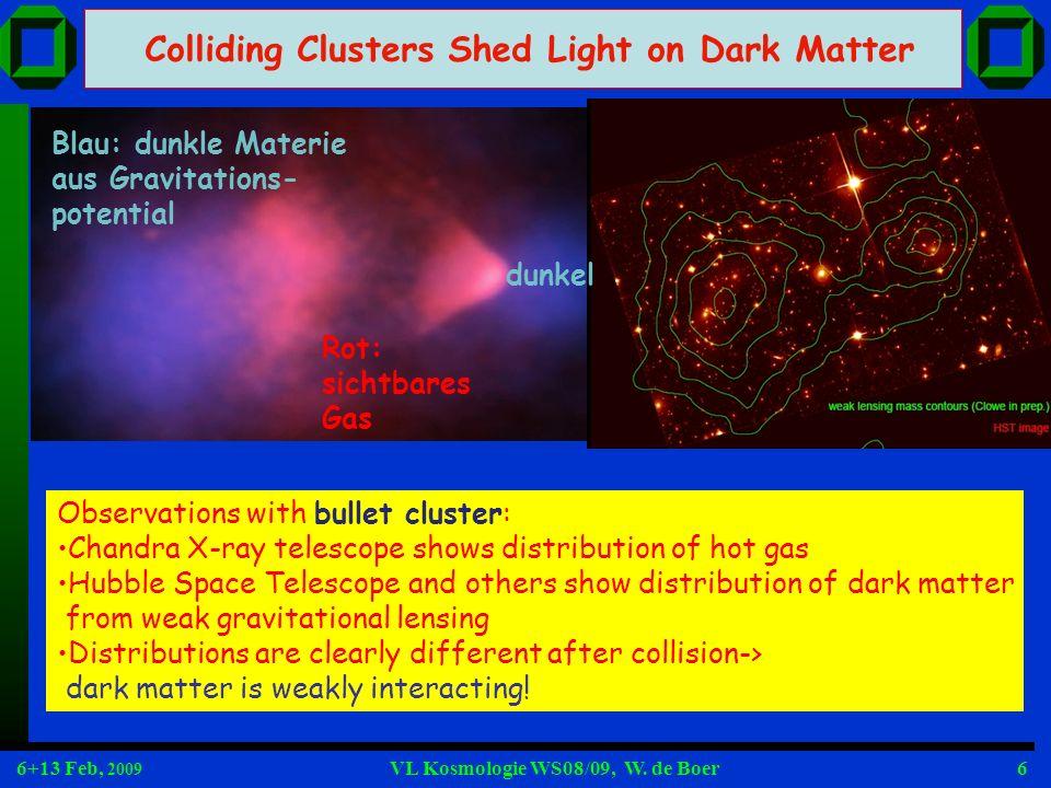 6+13 Feb, 2009 VL Kosmologie WS08/09, W.de Boer67 Typische Prüfungsfragen Was sind die exp.