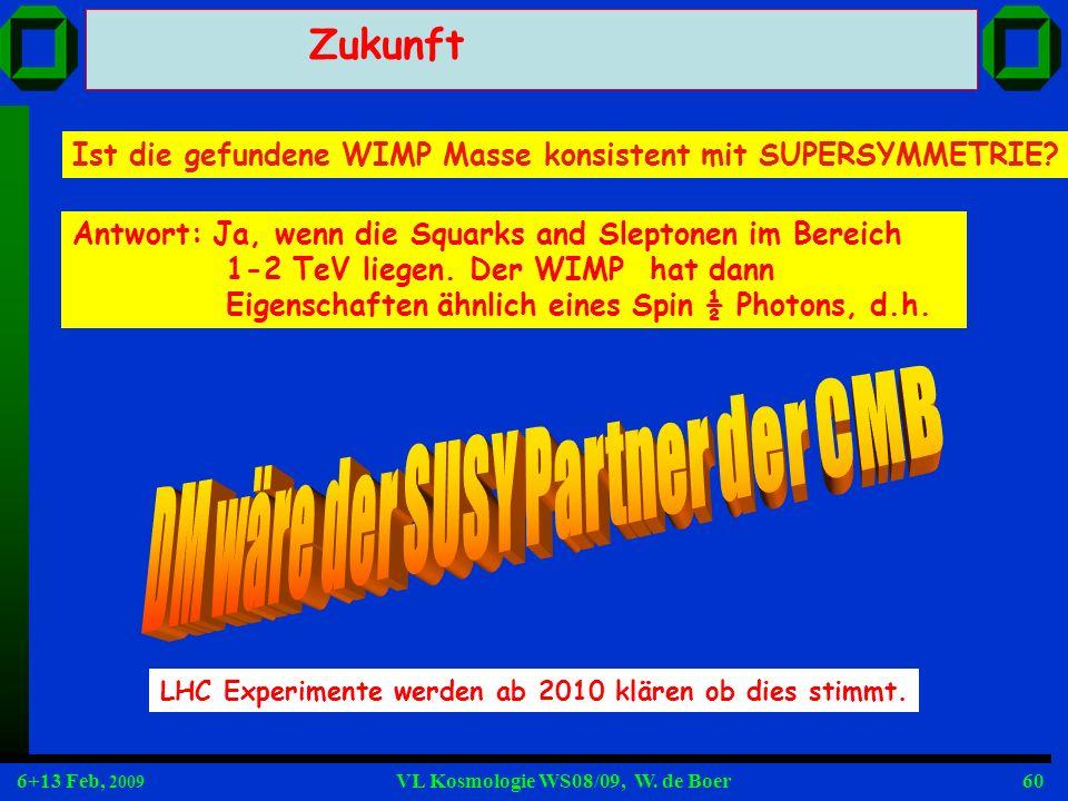 6+13 Feb, 2009 VL Kosmologie WS08/09, W. de Boer60 Zukunft Ist die gefundene WIMP Masse konsistent mit SUPERSYMMETRIE? LHC Experimente werden ab 2010