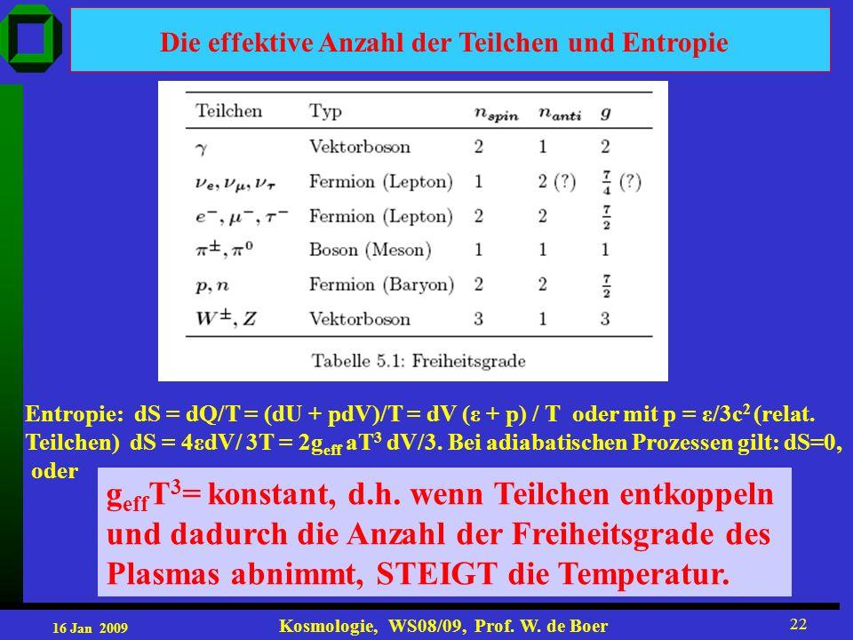 16 Jan 2009 Kosmologie, WS08/09, Prof. W. de Boer 22 Die effektive Anzahl der Teilchen und Entropie Entropie: dS = dQ/T = (dU + pdV)/T = dV (ε + p) /