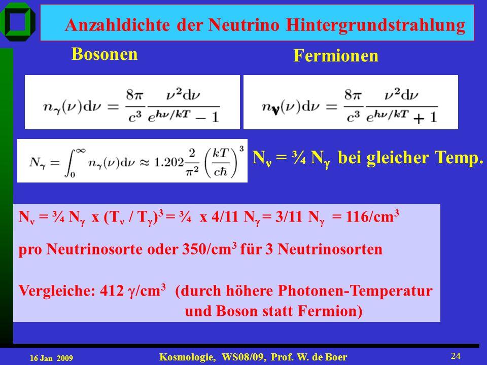 16 Jan 2009 Kosmologie, WS08/09, Prof. W. de Boer 24 Anzahldichte der Neutrino Hintergrundstrahlung Bosonen Fermionen + ν N ν = ¾ N bei gleicher Temp.