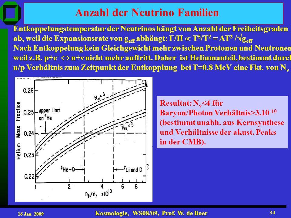 16 Jan 2009 Kosmologie, WS08/09, Prof. W. de Boer 34 Entkoppelungstemperatur der Neutrinos hängt von Anzahl der Freiheitsgraden ab, weil die Expansion