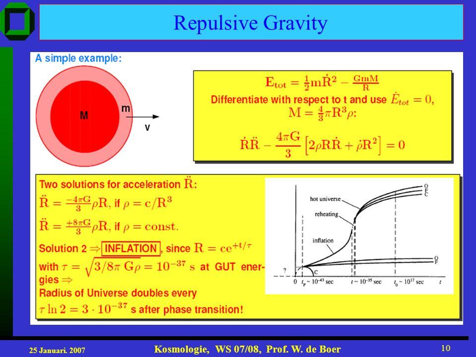 25 Januari. 2007 Kosmologie, WS 07/08, Prof. W. de Boer 10 Repulsive Gravity