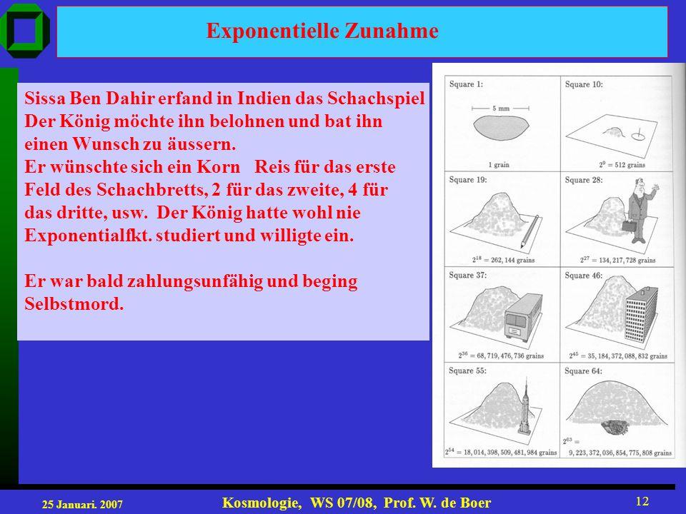 25 Januari. 2007 Kosmologie, WS 07/08, Prof. W. de Boer 12 Exponentielle Zunahme Sissa Ben Dahir erfand in Indien das Schachspiel Der König möchte ihn