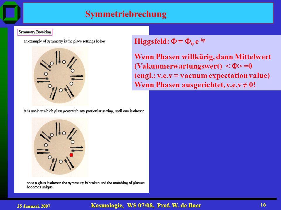 25 Januari. 2007 Kosmologie, WS 07/08, Prof. W. de Boer 16 Symmetriebrechung Higgsfeld: = 0 e i Wenn Phasen willkürig, dann Mittelwert (Vakuumerwartun