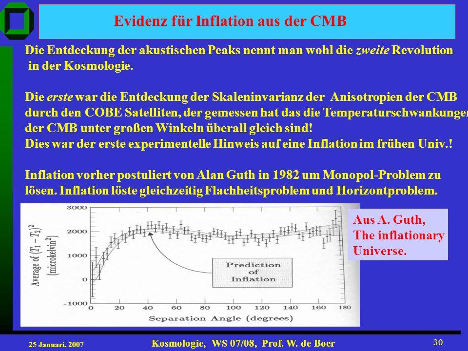 25 Januari. 2007 Kosmologie, WS 07/08, Prof. W. de Boer 30 Die Entdeckung der akustischen Peaks nennt man wohl die zweite Revolution in der Kosmologie