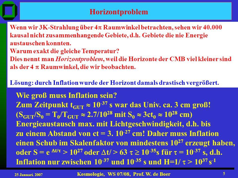 25 Januari. 2007 Kosmologie, WS 07/08, Prof. W. de Boer 5 Horizontproblem Wenn wir 3K-Strahlung über 4 Raumwinkel betrachten, sehen wir 40.000 kausal