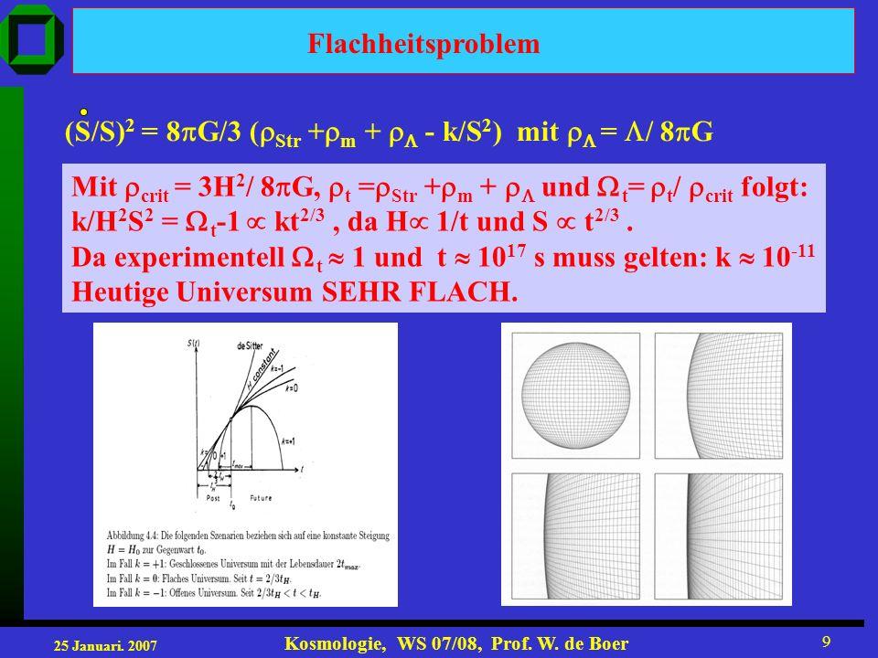 25 Januari. 2007 Kosmologie, WS 07/08, Prof. W. de Boer 9 Flachheitsproblem (S/S) 2 = 8 G/3 ( Str + m + - k/S 2 ) mit = / 8 G Mit crit = 3H 2 / 8 G, t