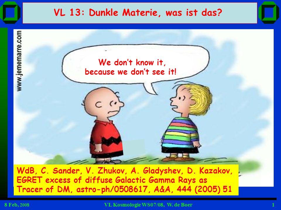 8 Feb, 2008 VL Kosmologie WS07/08, W. de Boer42 EGRET? Cross sections for Direct DM detection