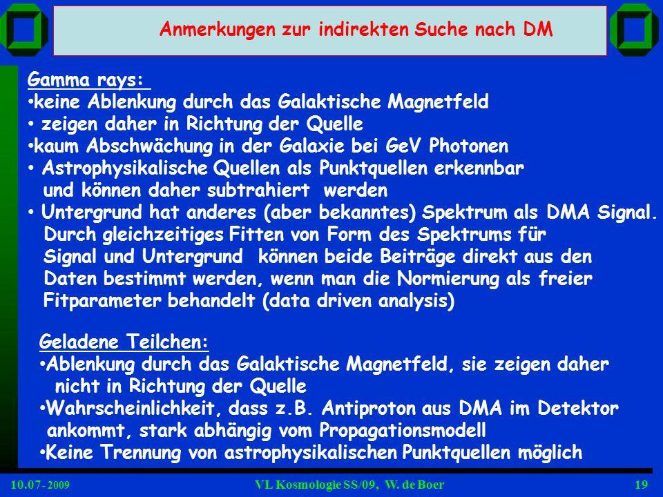 10.07- 2009 VL Kosmologie SS/09, W. de Boer19 Anmerkungen zur indirekten Suche nach DM Gamma rays: keine Ablenkung durch das Galaktische Magnetfeld ze