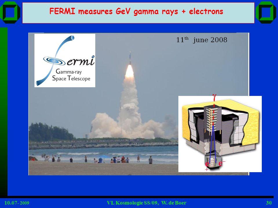 10.07- 2009 VL Kosmologie SS/09, W. de Boer30 FERMI measures GeV gamma rays + electrons e+e+ e–e–