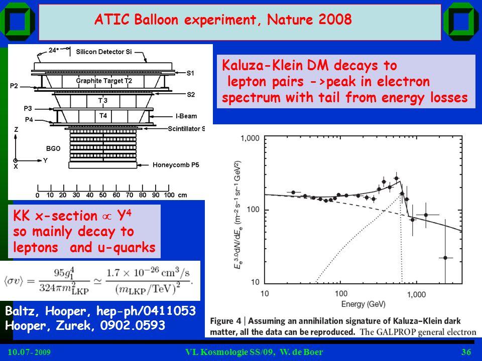 10.07- 2009 VL Kosmologie SS/09, W. de Boer36 ATIC Balloon experiment, Nature 2008 Kaluza-Klein DM decays to lepton pairs ->peak in electron spectrum