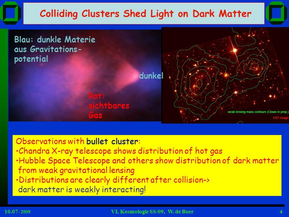10.07- 2009 VL Kosmologie SS/09, W.de Boer75 Warum muss DM kalt sein, d.h.