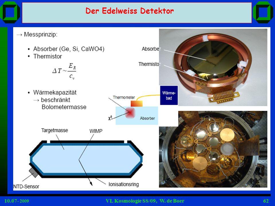 10.07- 2009 VL Kosmologie SS/09, W. de Boer62 Der Edelweiss Detektor