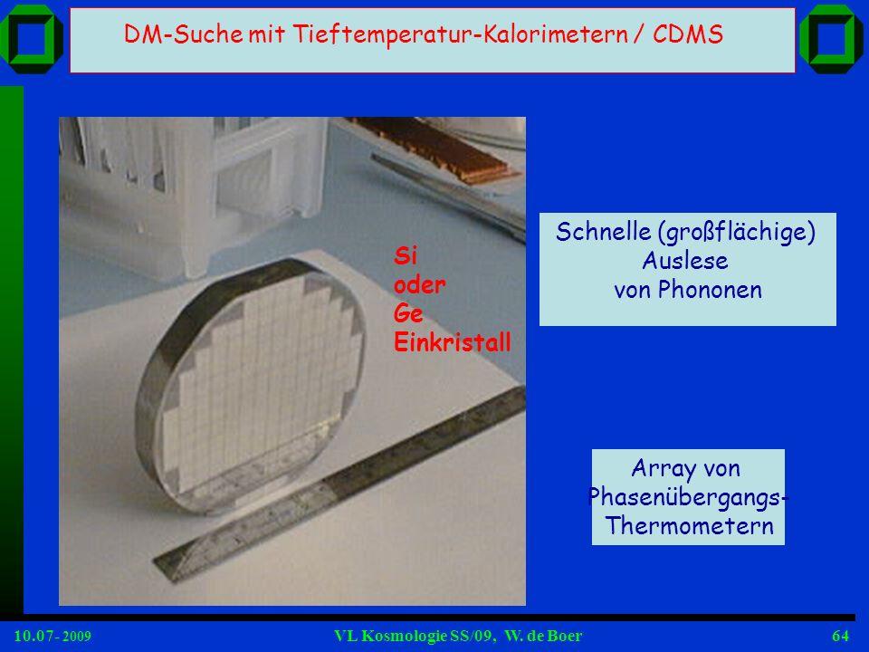 10.07- 2009 VL Kosmologie SS/09, W. de Boer64 Array von Phasenübergangs- Thermometern Schnelle (großflächige) Auslese von Phononen DM-Suche mit Tiefte