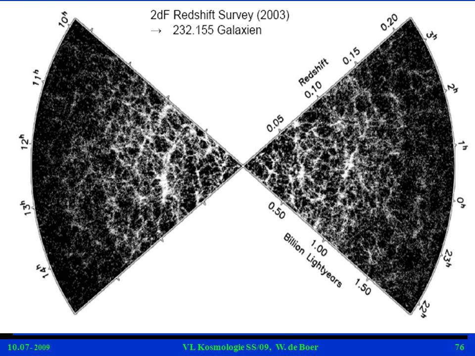 10.07- 2009 VL Kosmologie SS/09, W. de Boer76