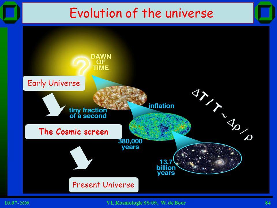 10.07- 2009 VL Kosmologie SS/09, W. de Boer84 Evolution of the universe T / T Early Universe Present Universe The Cosmic screen