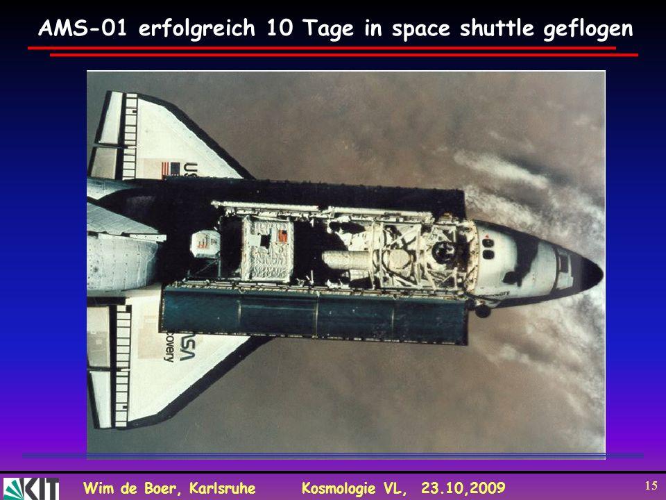 Wim de Boer, KarlsruheKosmologie VL, 23.10,2009 15 AMS-01 erfolgreich 10 Tage in space shuttle geflogen