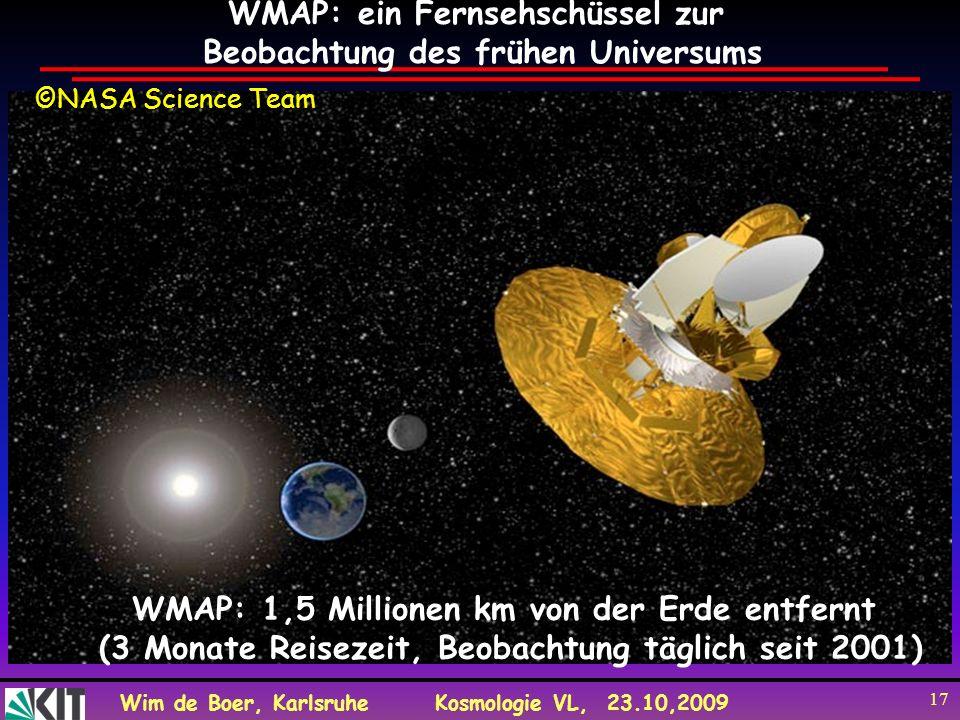 Wim de Boer, KarlsruheKosmologie VL, 23.10,2009 17 WMAP: ein Fernsehschüssel zur Beobachtung des frühen Universums WMAP: 1,5 Millionen km von der Erde