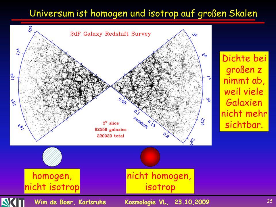Wim de Boer, KarlsruheKosmologie VL, 23.10,2009 25 Universum ist homogen und isotrop auf großen Skalen homogen, nicht isotrop nicht homogen, isotrop D