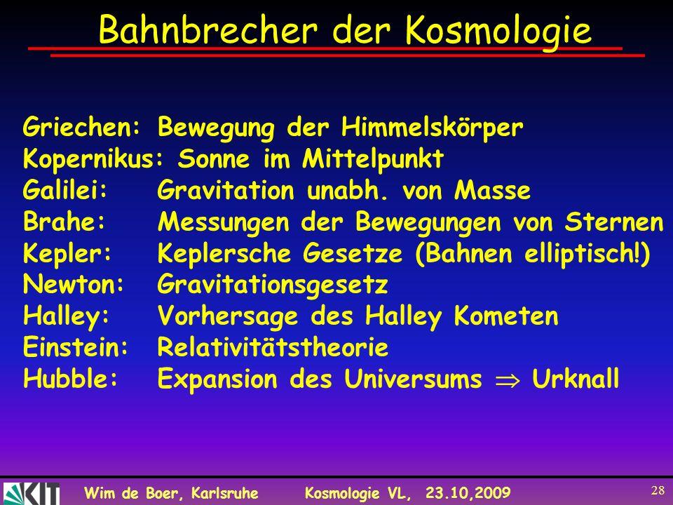 Wim de Boer, KarlsruheKosmologie VL, 23.10,2009 28 Bahnbrecher der Kosmologie Griechen: Bewegung der Himmelskörper Kopernikus: Sonne im Mittelpunkt Ga