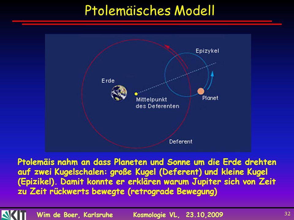 Wim de Boer, KarlsruheKosmologie VL, 23.10,2009 32 Ptolemäisches Modell Ptolemäis nahm an dass Planeten und Sonne um die Erde drehten auf zwei Kugelsc