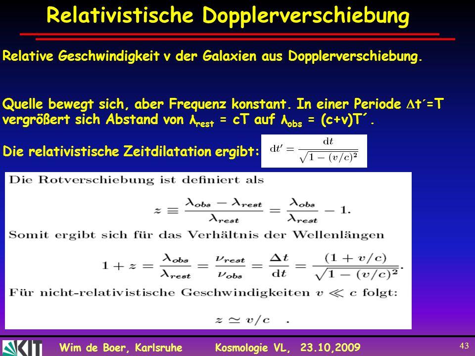 Wim de Boer, KarlsruheKosmologie VL, 23.10,2009 43 Relativistische Dopplerverschiebung Relative Geschwindigkeit v der Galaxien aus Dopplerverschiebung