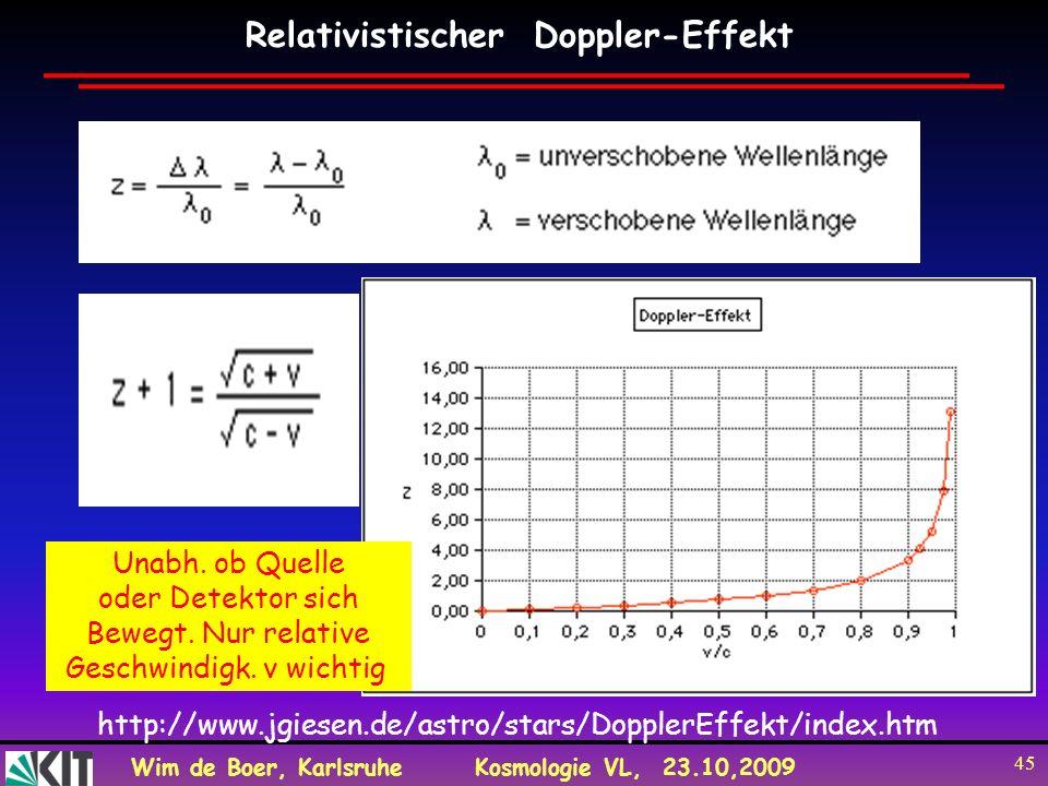Wim de Boer, KarlsruheKosmologie VL, 23.10,2009 45 Relativistischer Doppler-Effekt http://www.jgiesen.de/astro/stars/DopplerEffekt/index.htm Unabh. ob