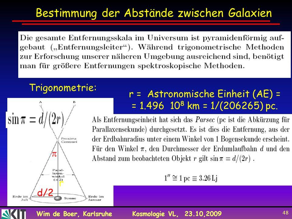 Wim de Boer, KarlsruheKosmologie VL, 23.10,2009 48 r d/2d/2 Bestimmung der Abstände zwischen Galaxien Trigonometrie: r = Astronomische Einheit (AE) =