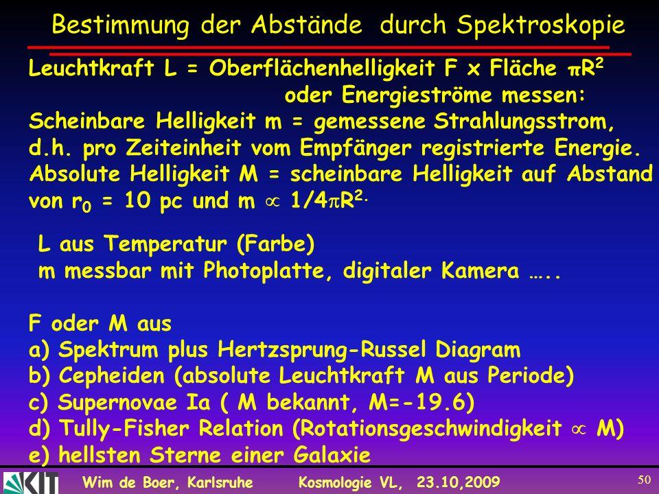 Wim de Boer, KarlsruheKosmologie VL, 23.10,2009 50 Leuchtkraft L = Oberflächenhelligkeit F x Fläche πR 2 oder Energieströme messen: Scheinbare Helligk