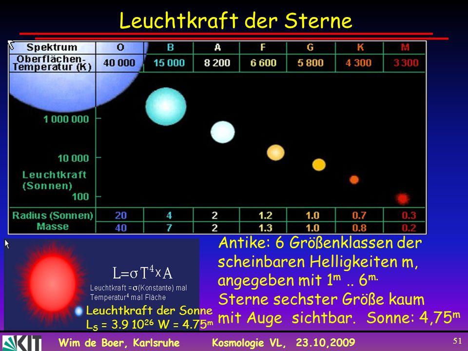 Wim de Boer, KarlsruheKosmologie VL, 23.10,2009 51 Leuchtkraft der Sterne Antike: 6 Größenklassen der scheinbaren Helligkeiten m, angegeben mit 1 m..