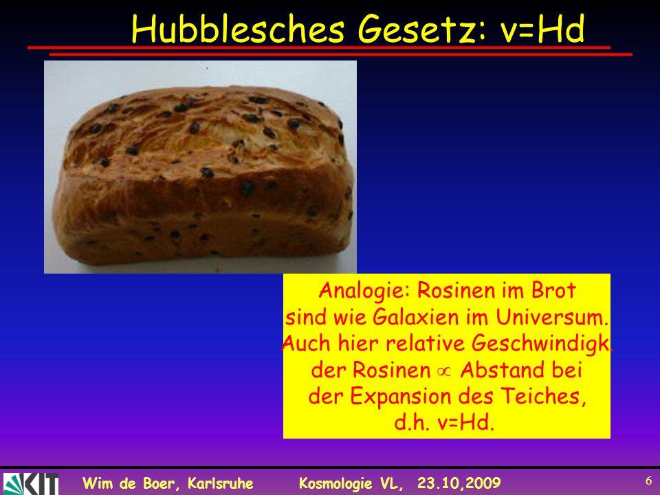 Wim de Boer, KarlsruheKosmologie VL, 23.10,2009 6 Hubblesches Gesetz: v=Hd Analogie: Rosinen im Brot sind wie Galaxien im Universum. Auch hier relativ