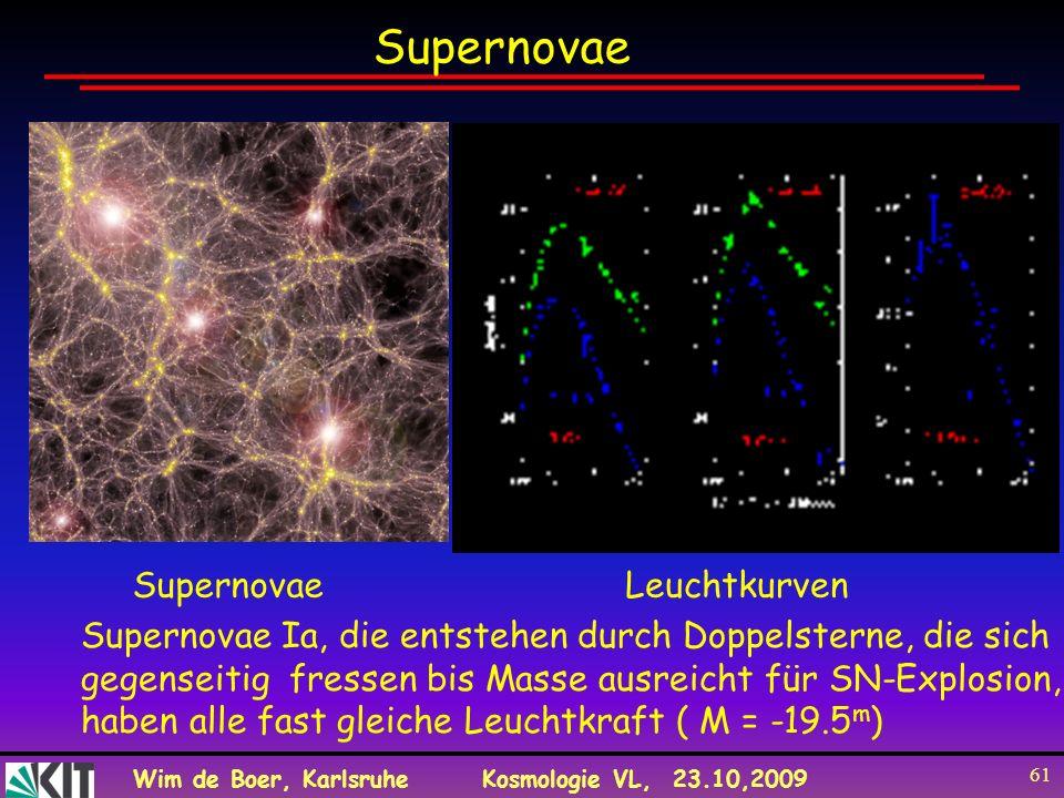 Wim de Boer, KarlsruheKosmologie VL, 23.10,2009 61 LeuchtkurvenSupernovae Supernovae Ia, die entstehen durch Doppelsterne, die sich gegenseitig fresse