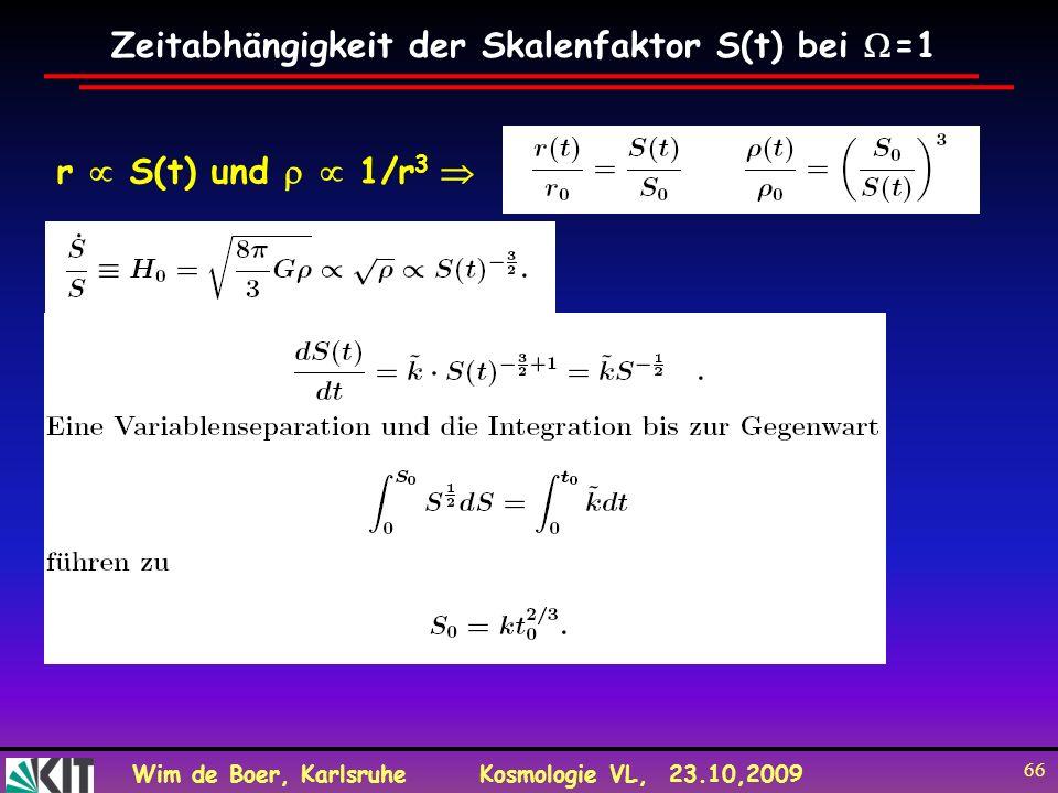 Wim de Boer, KarlsruheKosmologie VL, 23.10,2009 66 Zeitabhängigkeit der Skalenfaktor S(t) bei =1 r S(t) und 1/r 3
