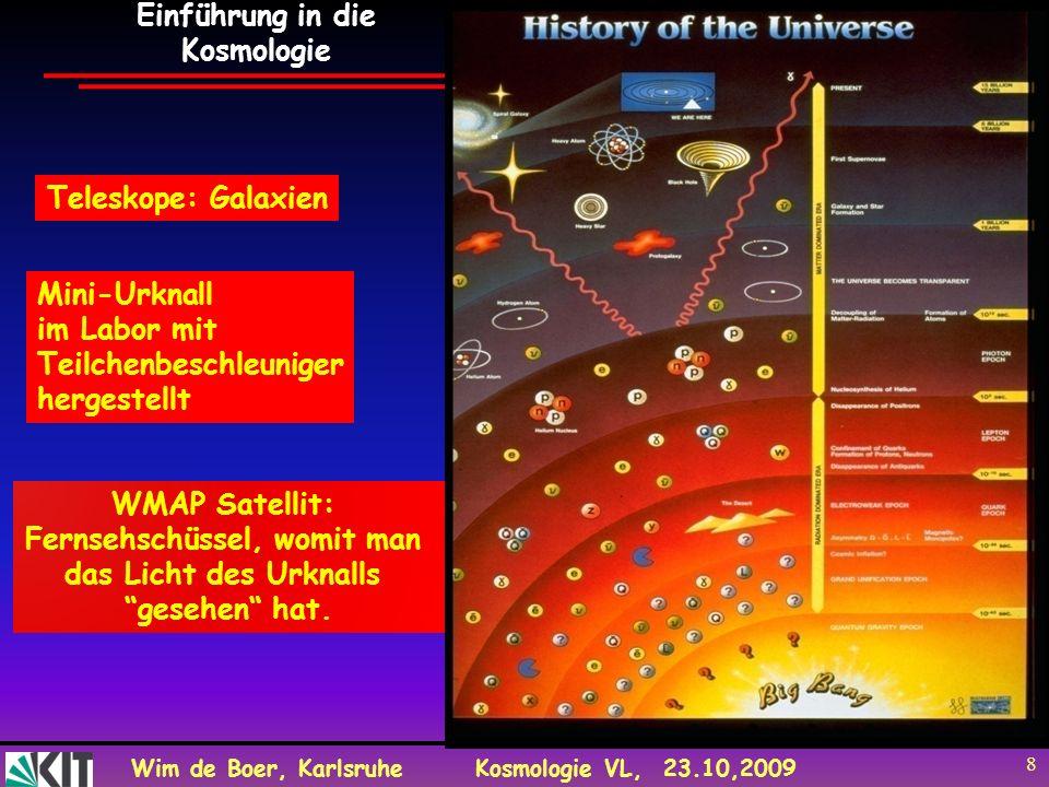Wim de Boer, KarlsruheKosmologie VL, 23.10,2009 8 Teleskope: Galaxien WMAP Satellit: Fernsehschüssel, womit man das Licht des Urknalls gesehen hat. Mi