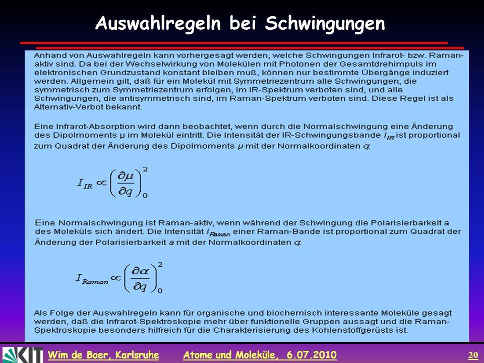 Wim de Boer, Karlsruhe Atome und Moleküle, 6.07.2010 20 Auswahlregeln bei Schwingungen