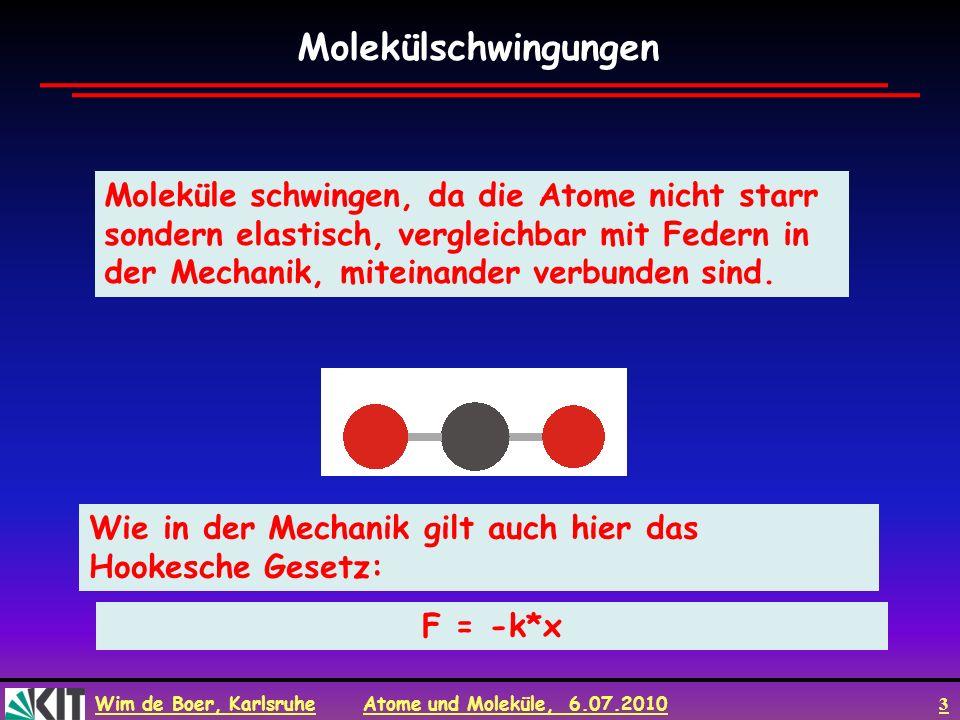 Wim de Boer, Karlsruhe Atome und Moleküle, 6.07.2010 3 Moleküle schwingen, da die Atome nicht starr sondern elastisch, vergleichbar mit Federn in der