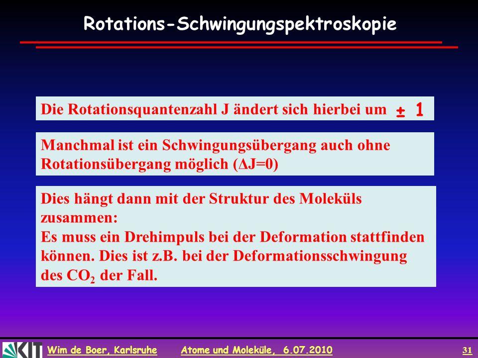 Wim de Boer, Karlsruhe Atome und Moleküle, 6.07.2010 31 Die Rotationsquantenzahl J ändert sich hierbei um Manchmal ist ein Schwingungsübergang auch oh