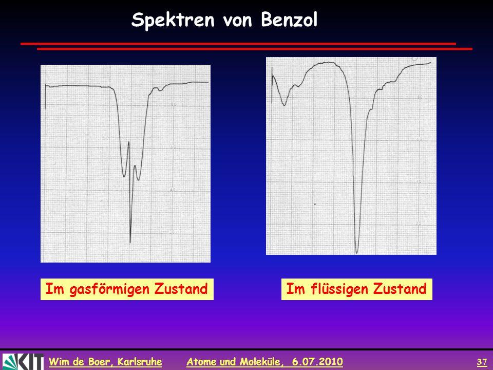 Wim de Boer, Karlsruhe Atome und Moleküle, 6.07.2010 37 Im flüssigen ZustandIm gasförmigen Zustand Spektren von Benzol